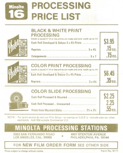 Minolta-MG16-Process-Price-List-1971