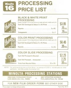 Minolta-MG16-Process-Price-List-1971