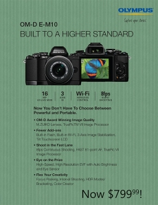 Olympus OMD EM-10: body only $699, or $799 with lens!