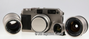 Contax G1 with three lenses! 21mm, 50mm and 90mm, as well as optical wide-angle finder